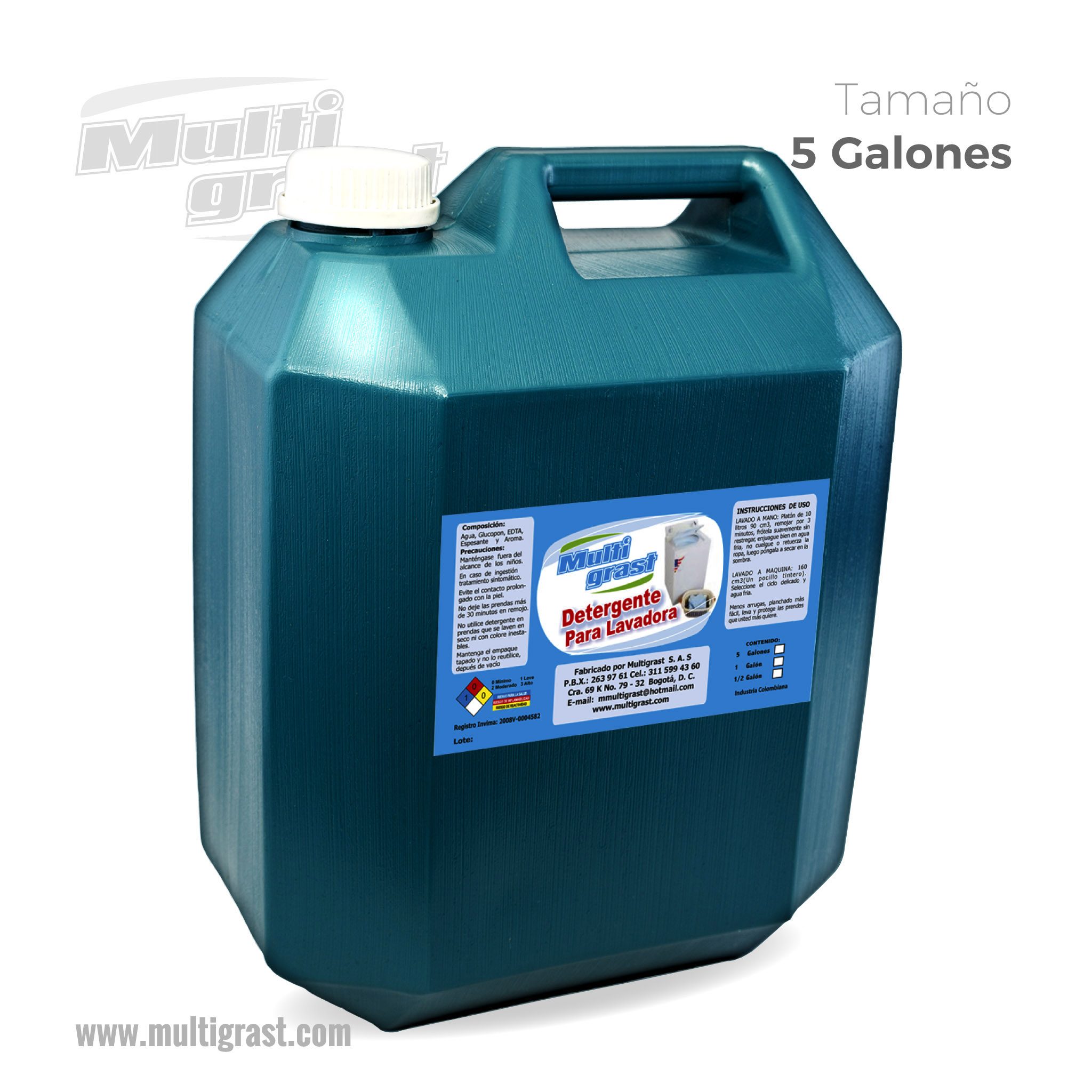 Detergente Líquido Para Lavadora Garrafa 5 Galones